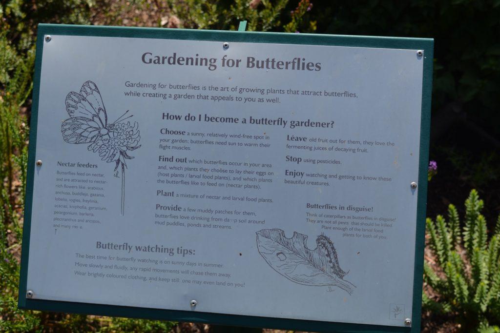 Sinalização no Jardim Botânico da Cidade do Cabo